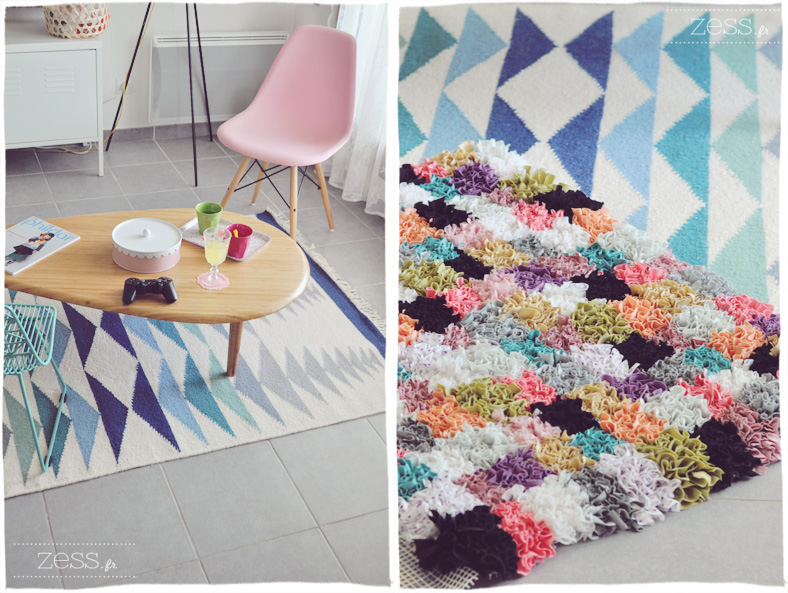 tapis triangle boucherouite salon scandinave