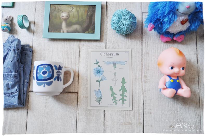 compilation bleu objet vintage girly maternité