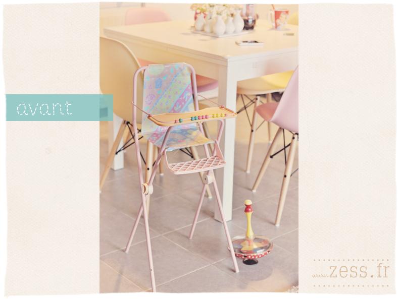 chaise haute poupée vintage