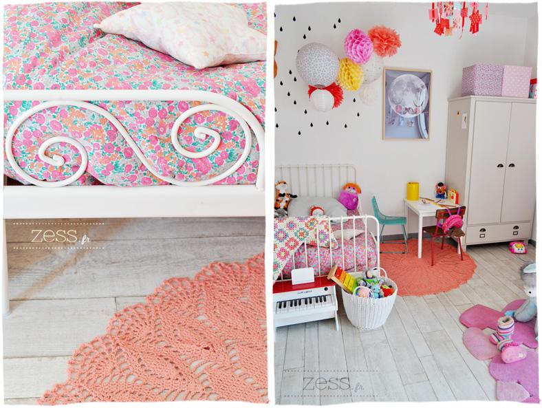 chambre enfant fille vintage design rétro liberty romantique girly
