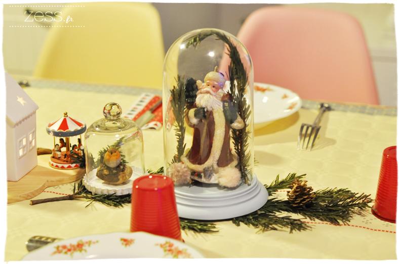 déco table noel biche cloche verre vintage