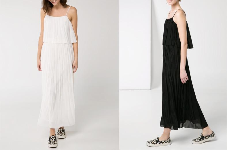 robe mango longue noir gaze plissée