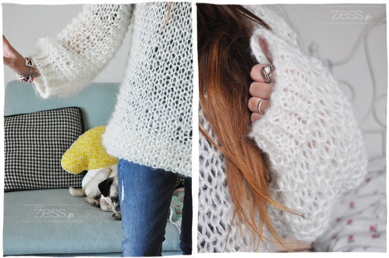 pull doudou tricot didicatcat knook knit crochet mohair loose