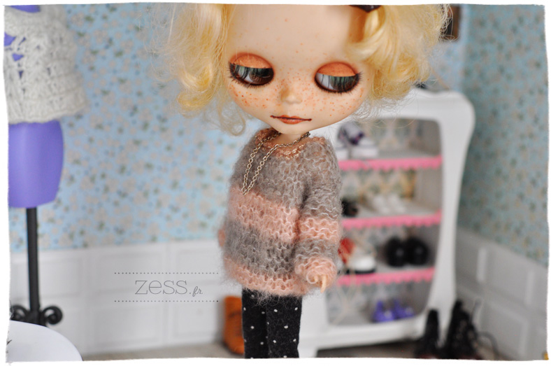 knit doll blythe jumper cardigan sweater top pattern tuto diy
