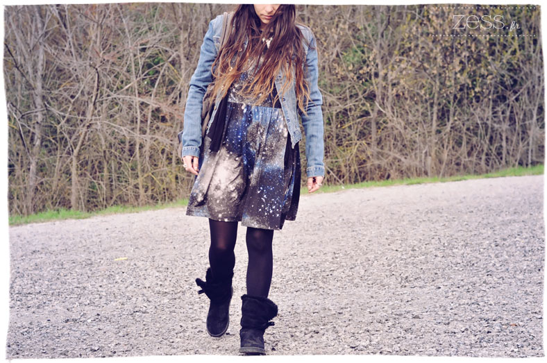 look asos robe petite loose galaxy intergalactique denim ugg