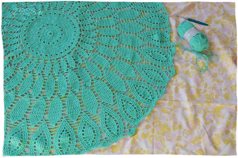 tapis crochet menthe