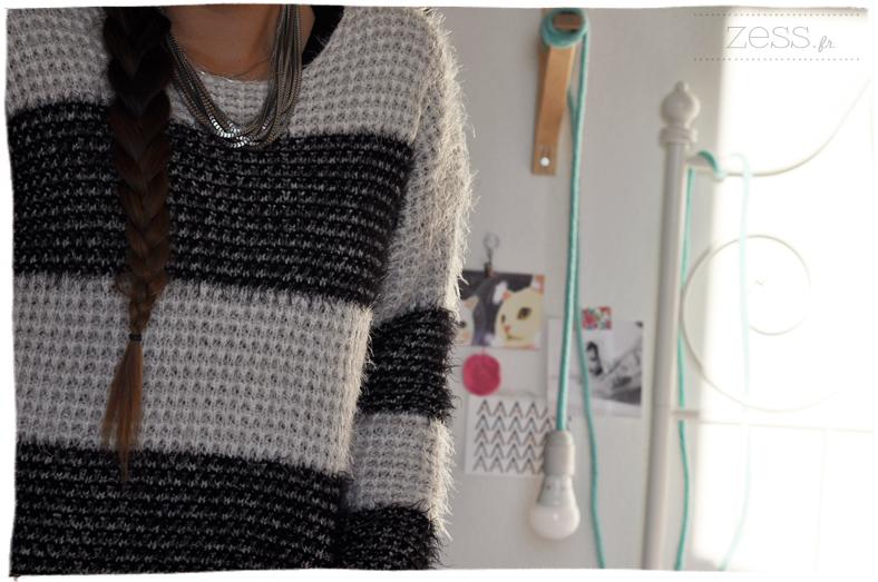 pull tricot knit bi colore