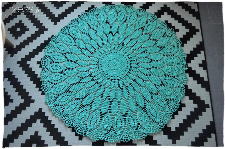 tapis phildar crochet napperon géant menthe