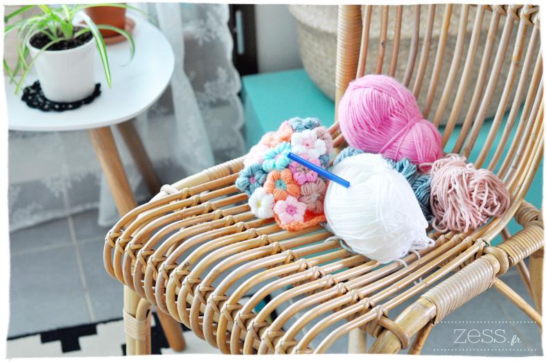 tomado chaise osier crochet laine h&M salon déco