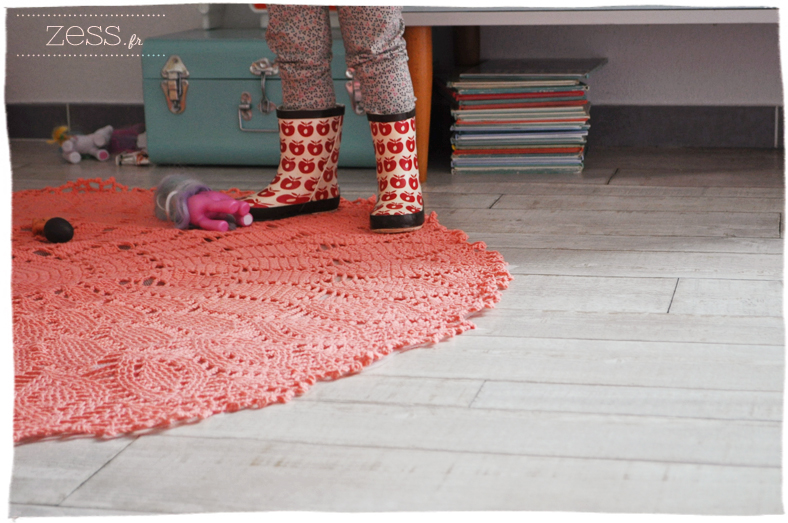 tuto tapis crochet laine rigidifier tenue amidon technique