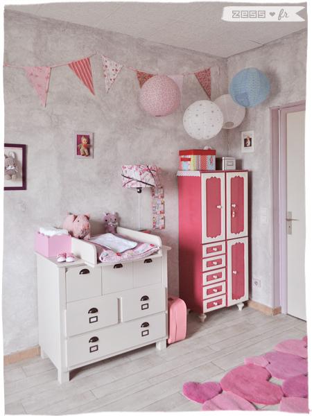 chambre bébé fille vintage rétro romantique vertbaudet langer lampions guirlande liberty vide-grenier