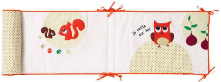 sélection shopping vertbaudet chambre bébé tour de lit hiboux rétro pois écureuil