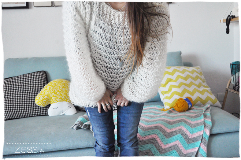 pull doudou tricot didicatcat knook knit crochet mohair loose