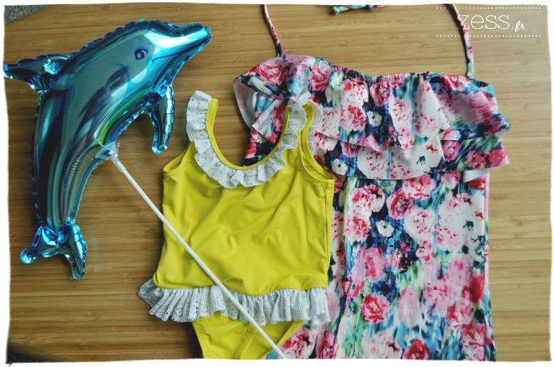 maillot de bain fleuri h&m jaune dentelle enfant