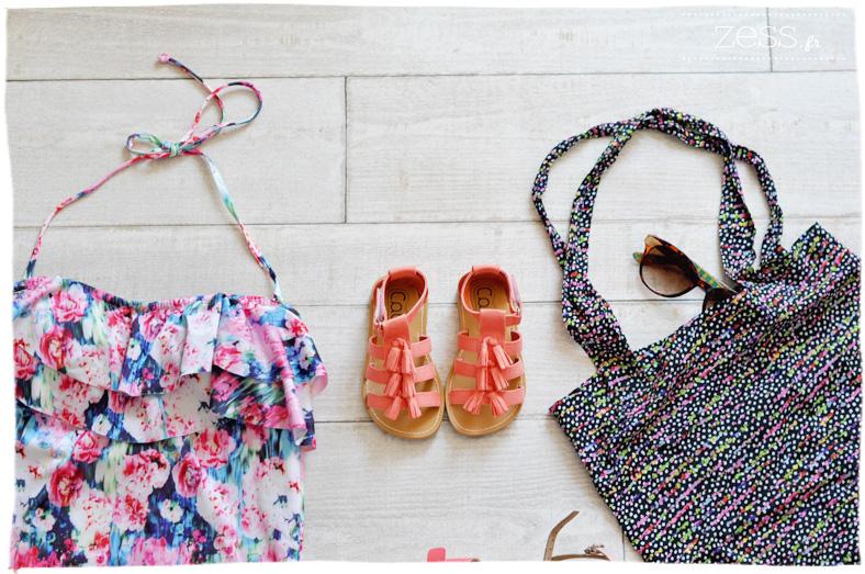 maillot de bain fleuri sandale corail lunettes tote bag